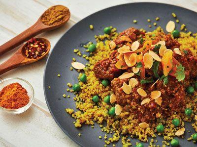 Lamb tagine w apricots + quinoa pilaf